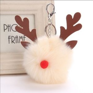 Reindeer Pom Pom Key Chains - Cream